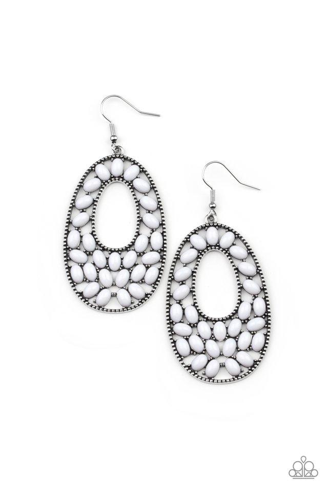 Beaded Shores - White - Paparazzi Earring Image