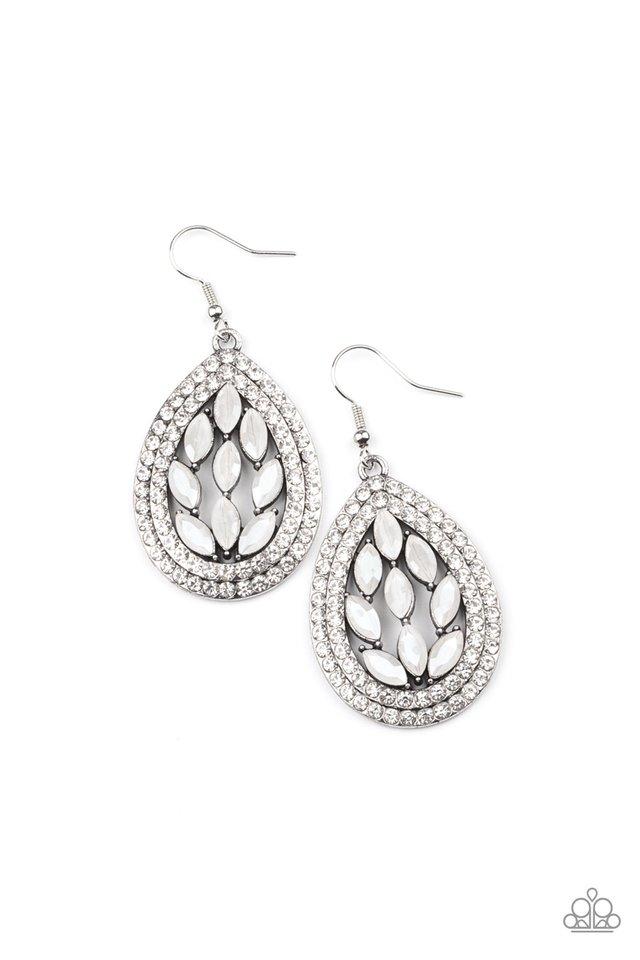 Encased Elegance - White - Paparazzi Earring Image