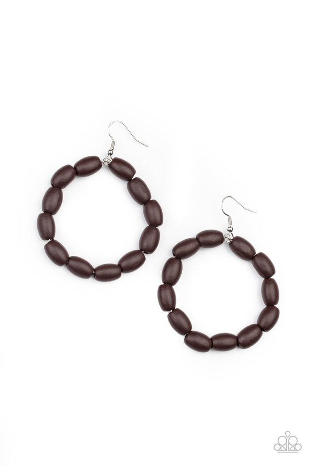 Living The WOOD Life - Brown - Paparazzi Earring Image