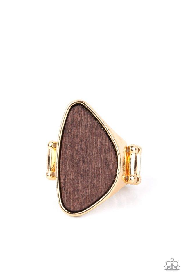 Perfectly Petrified - Gold - Paparazzi Ring Image