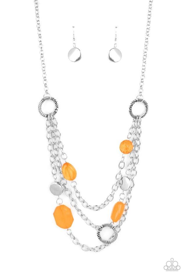 Oceanside Spa - Orange - Paparazzi Necklace Image