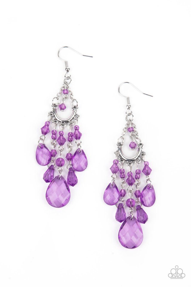 ​Paid Vacation - Purple - Paparazzi Earring Image