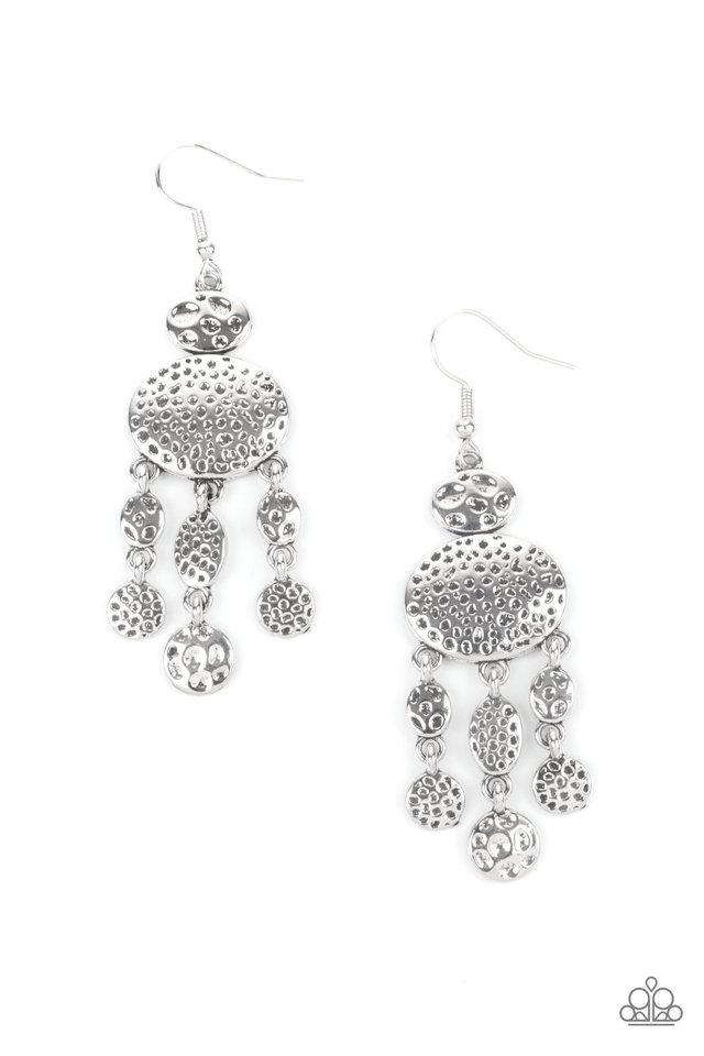 Get Your ARTIFACTS Straight - Silver - Paparazzi Earring Image