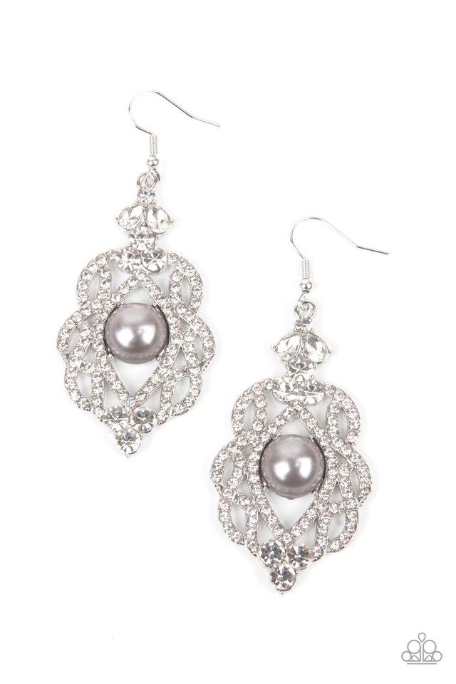 Rhinestone Renaissance - Silver - Paparazzi Earring Image