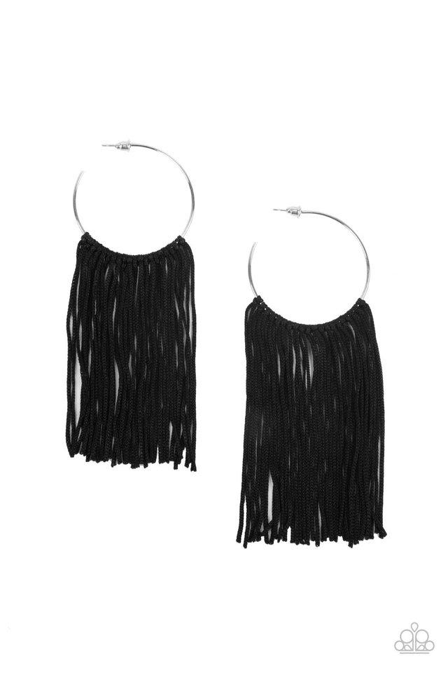 Flauntable Fringe - Black - Paparazzi Earring Image