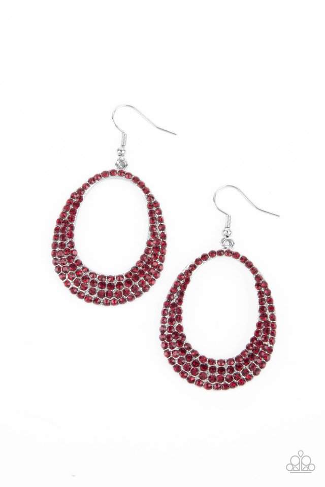 Life GLOWS On - Red - Paparazzi Earring Image