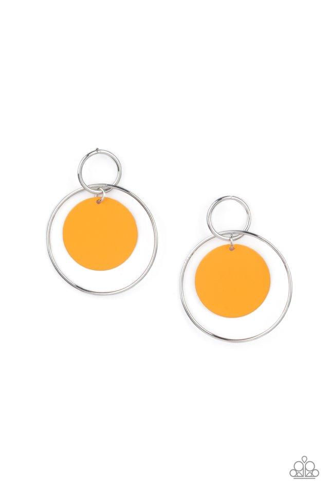 POP, Look, and Listen - Orange - Paparazzi Earring Image
