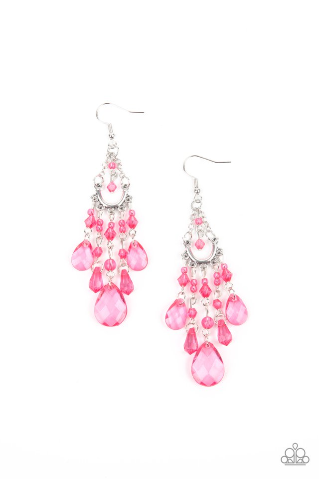 Paid Vacation - Pink - Paparazzi Earring Image