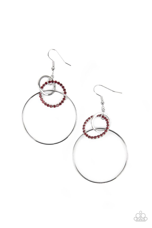 In An Orderly Fashion - Red - Paparazzi Earring Image