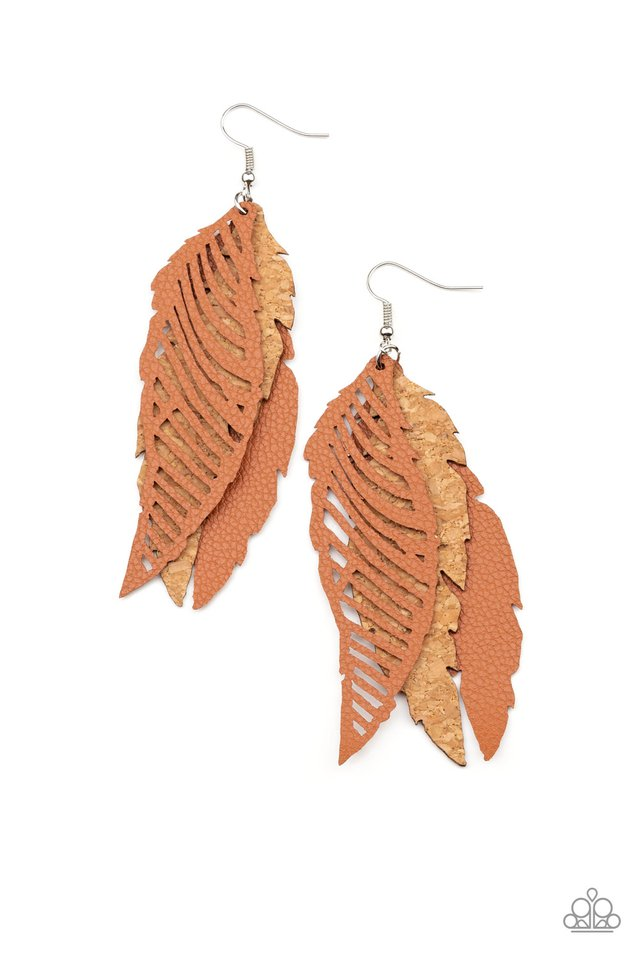 WINGING Off The Hook - Brown - Paparazzi Earring Image
