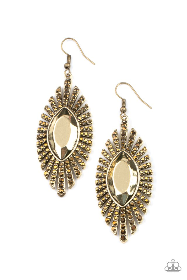 Who Is The FIERCEST Of Them All - Brass - Paparazzi Earring Image