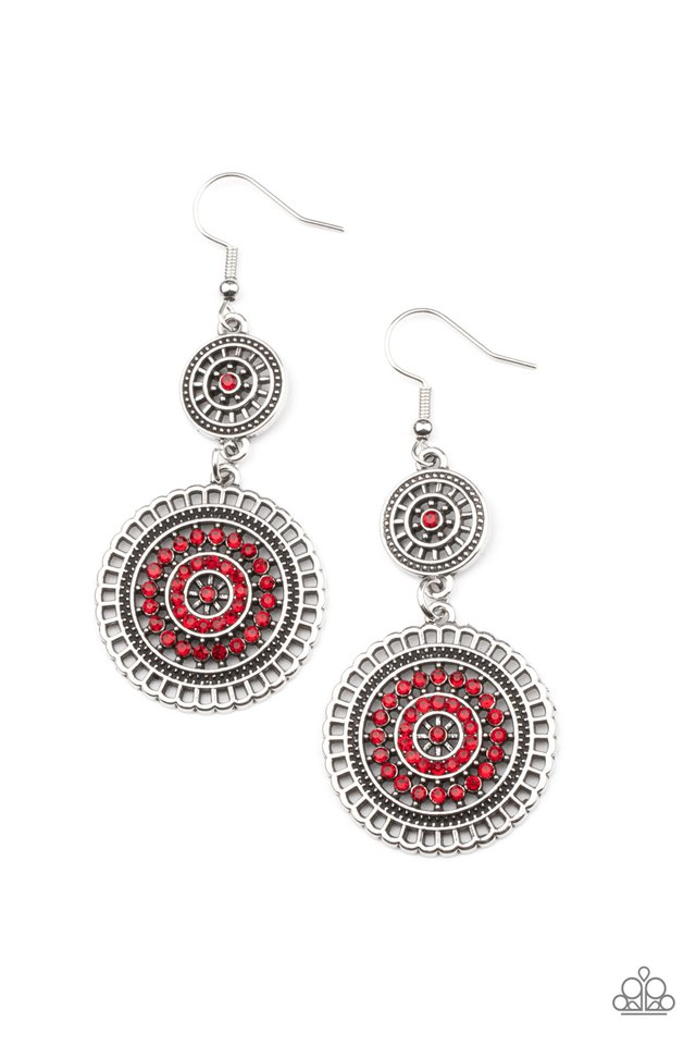 Bohemian Bedazzle - Red - Paparazzi Earring Image