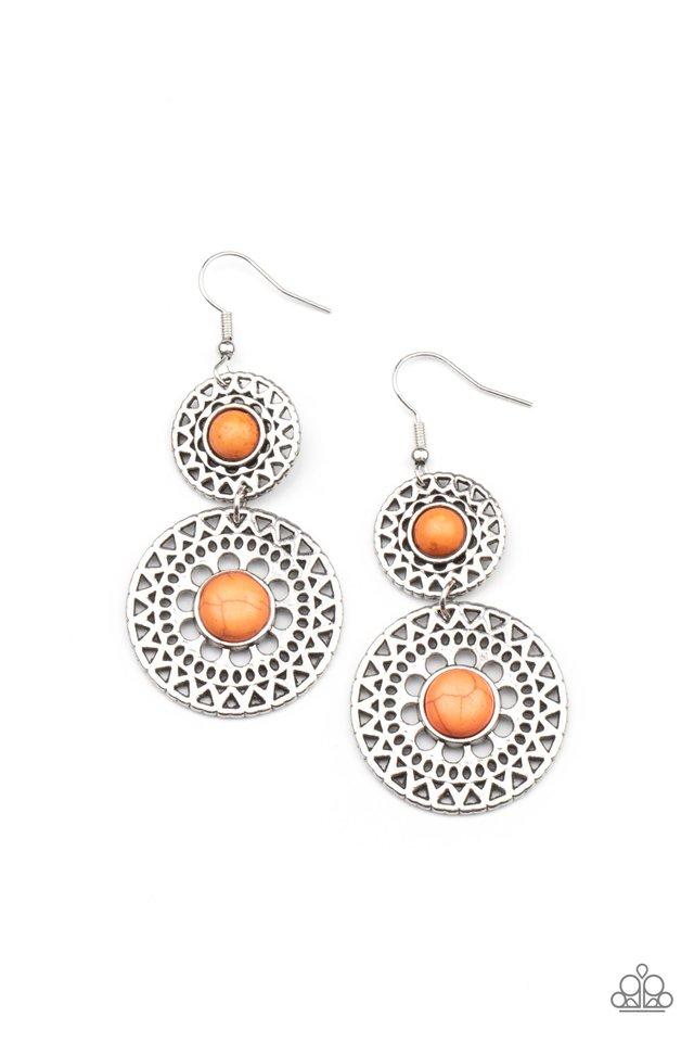 Sunny Sahara - Orange - Paparazzi Earring Image