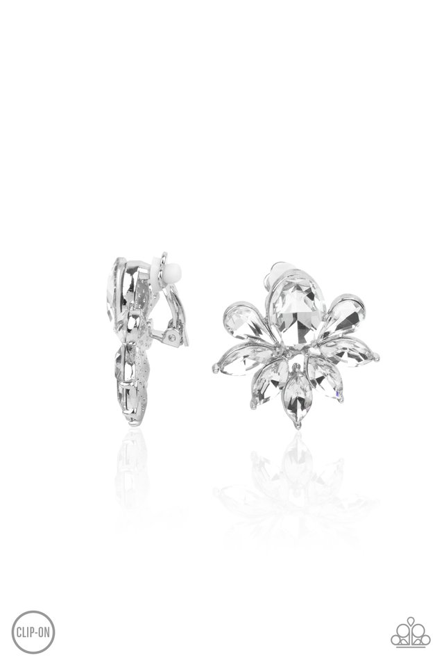 Fearless Finesse - White - Paparazzi Earring Image