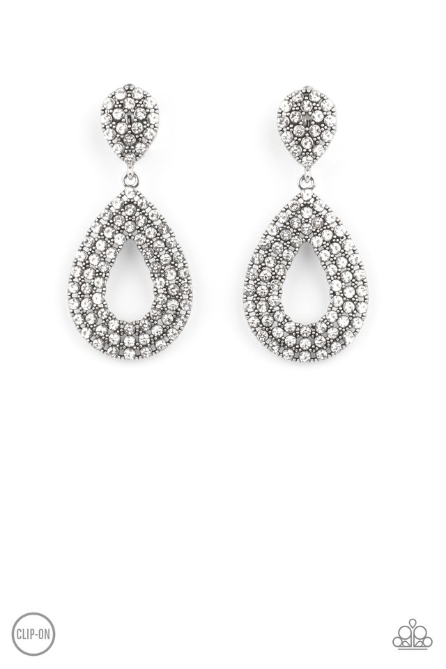 Pack In The Pizzazz - White - Paparazzi Earring Image