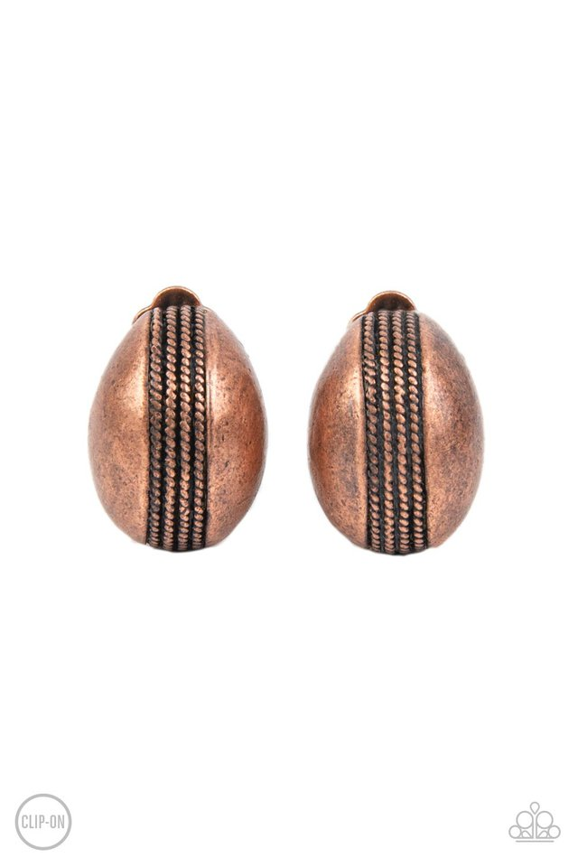 Classic Curves - Copper - Paparazzi Earring Image