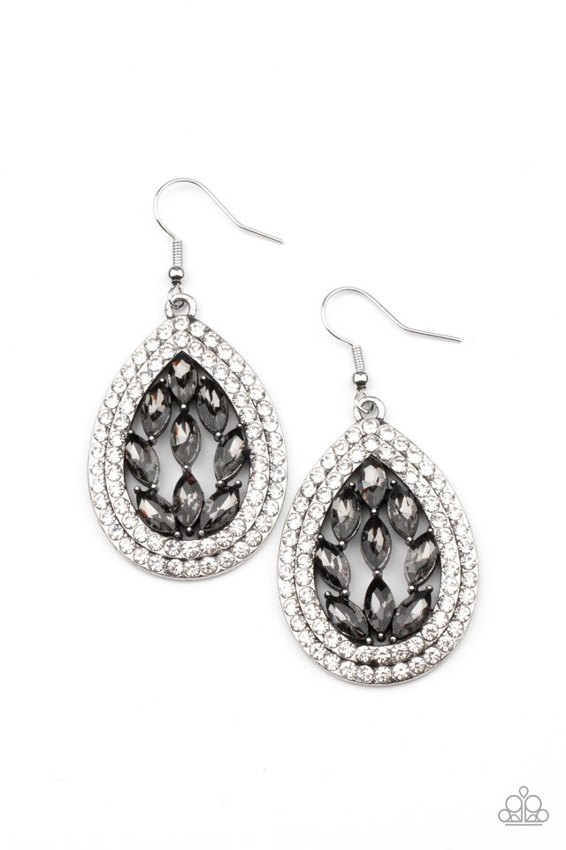 Encased Elegance - Silver - Paparazzi Earring Image