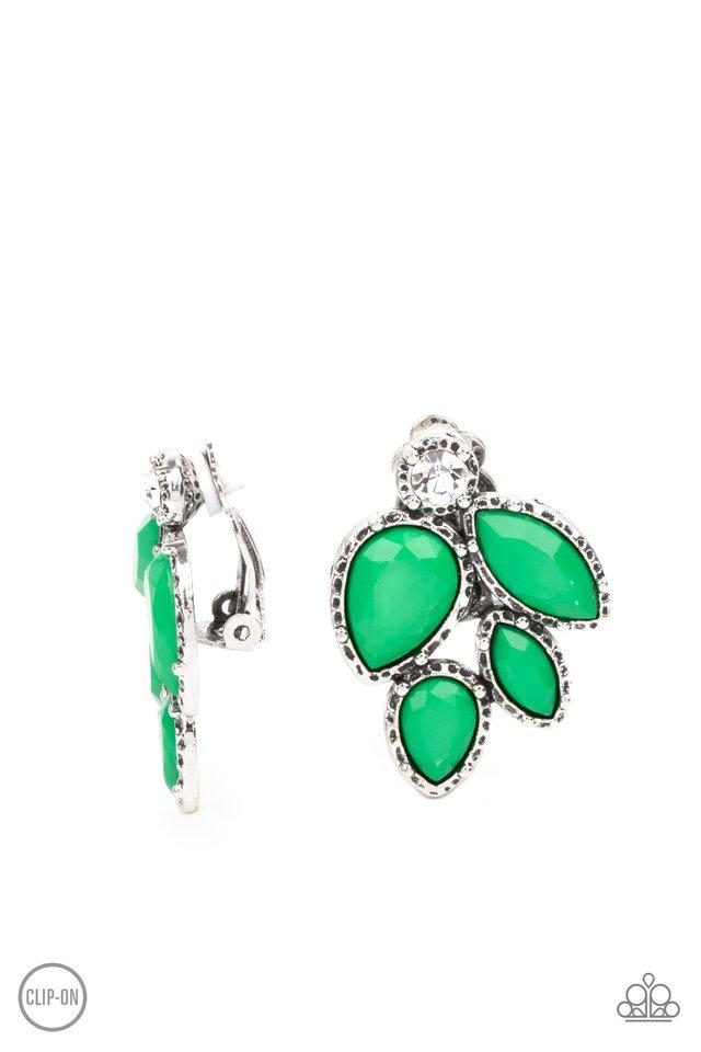 Fancy Foliage - Green - Paparazzi Earring Image