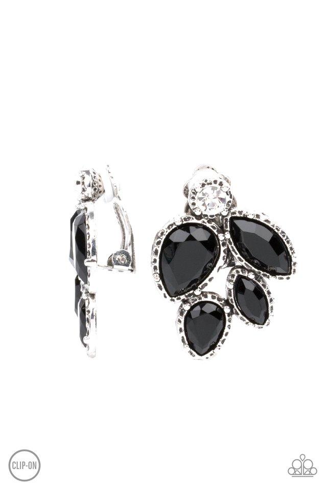Fancy Foliage - Black - Paparazzi Earring Image