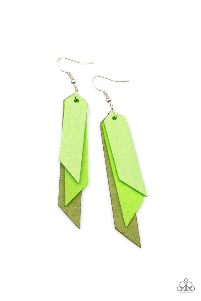 Suede Shade - Green - Paparazzi Earring Image