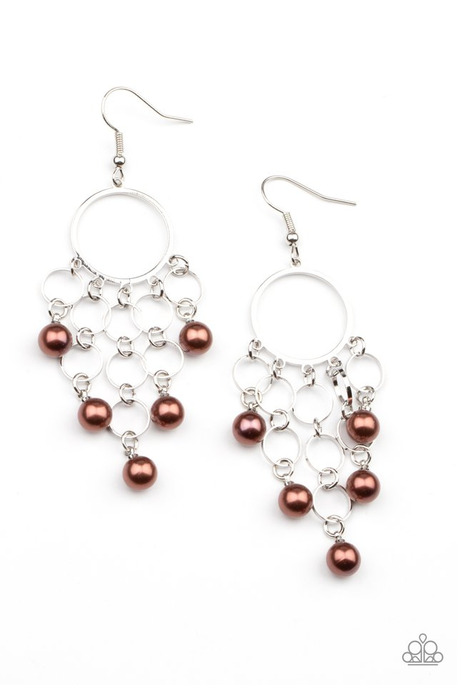 When Life Gives You Pearls - Brown - Paparazzi Earring Image
