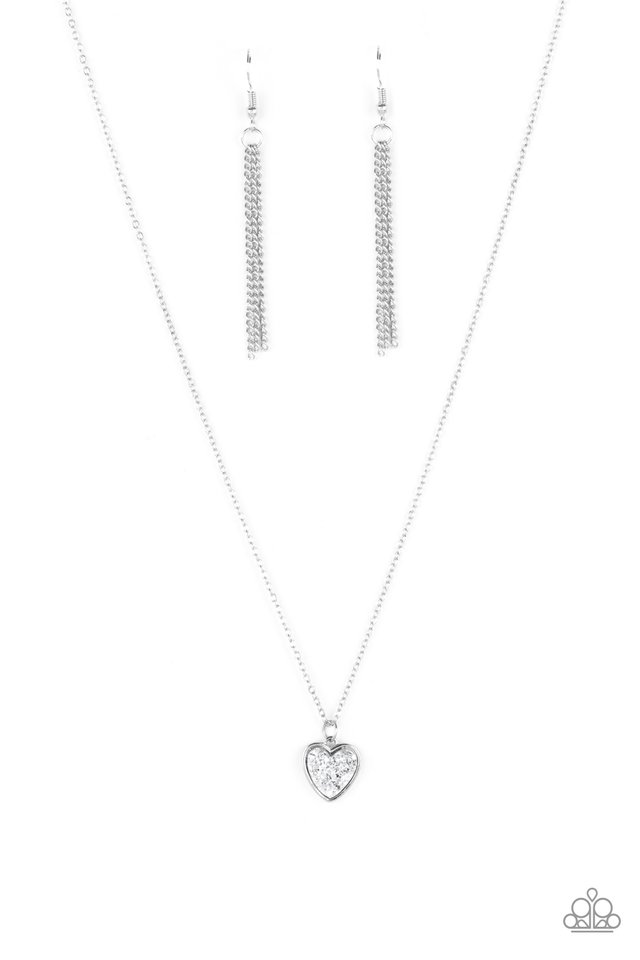Pitter-Patter, Goes My Heart - Silver - Paparazzi Necklace Image