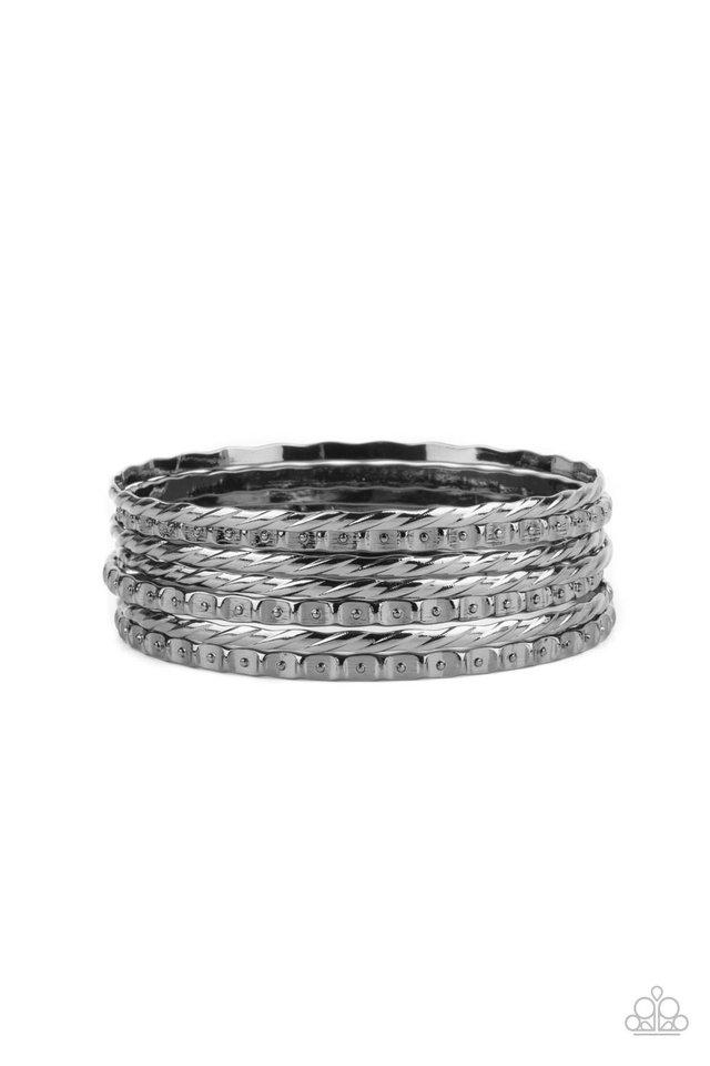 Back-To-Back Stacks - Black - Paparazzi Bracelet Image