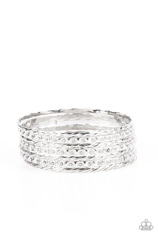 Back-To-Back Stacks - Silver - Paparazzi Bracelet Image
