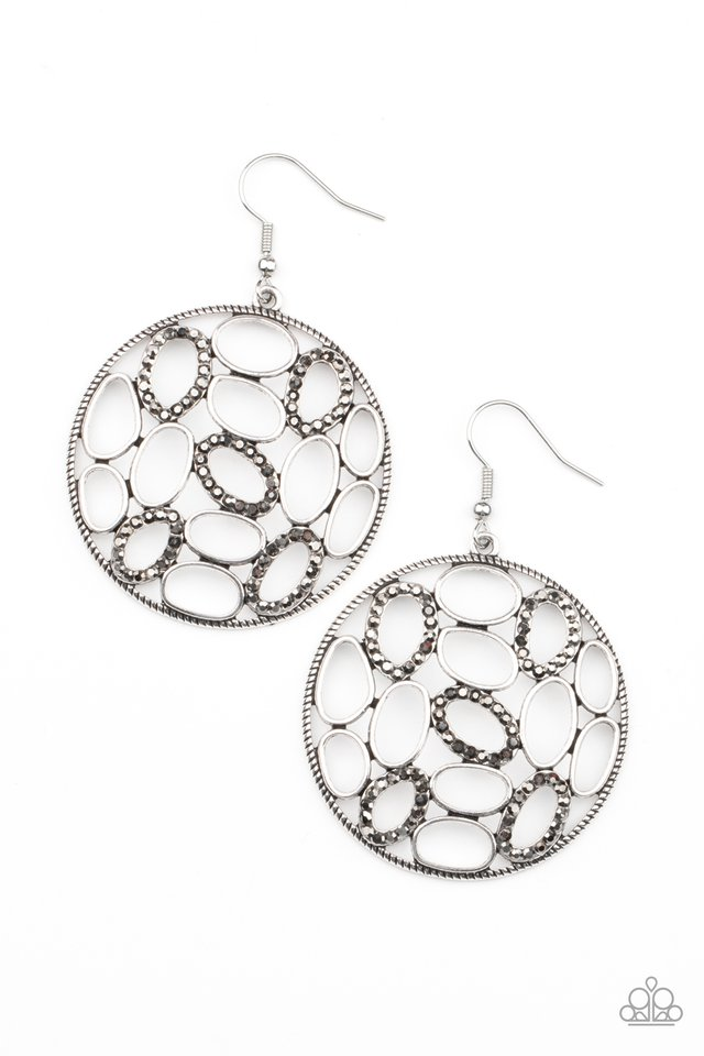 Watch OVAL Me - Silver - Paparazzi Earring Image