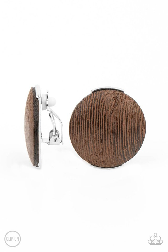 WOODWORK It - Brown - Paparazzi Earring Image