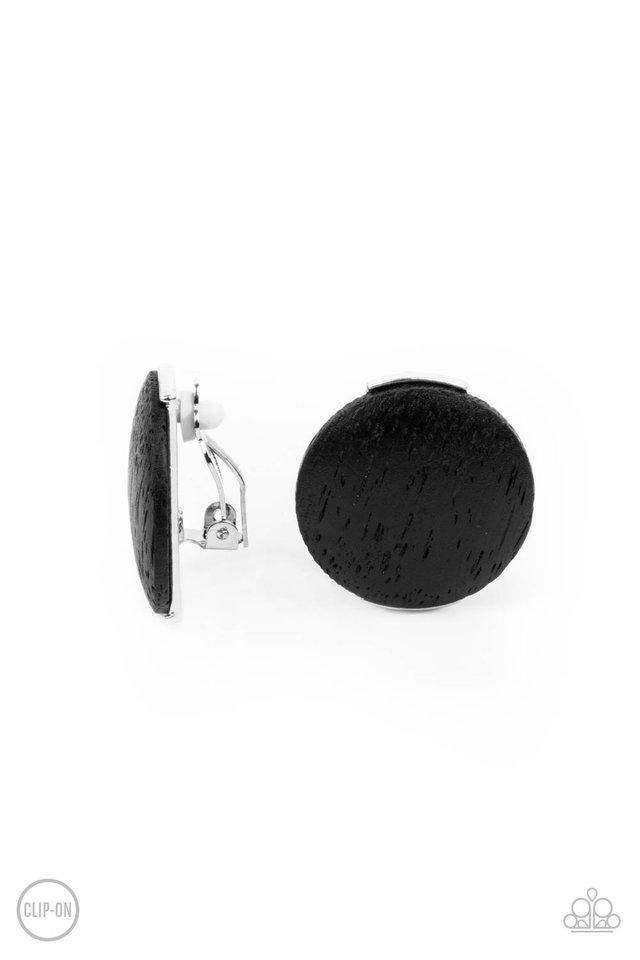 WOODWORK It - Black - Paparazzi Earring Image