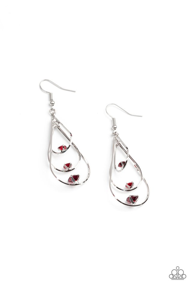 Drop Down Dazzle - Red - Paparazzi Earring Image