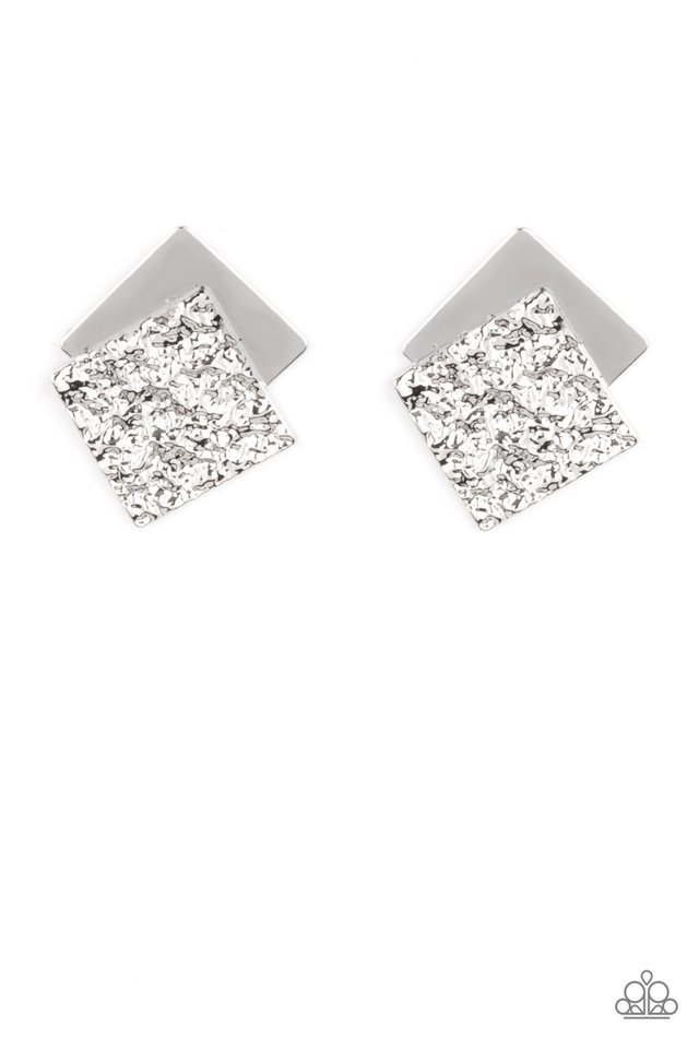 Square With Style - Silver - Paparazzi Earring Image