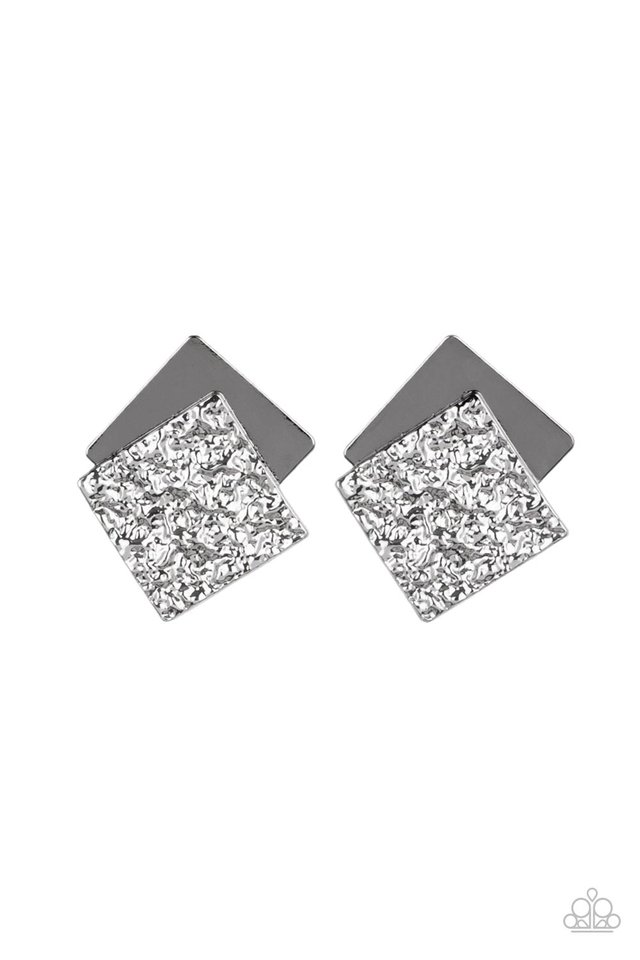 Square With Style - Black - Paparazzi Earring Image