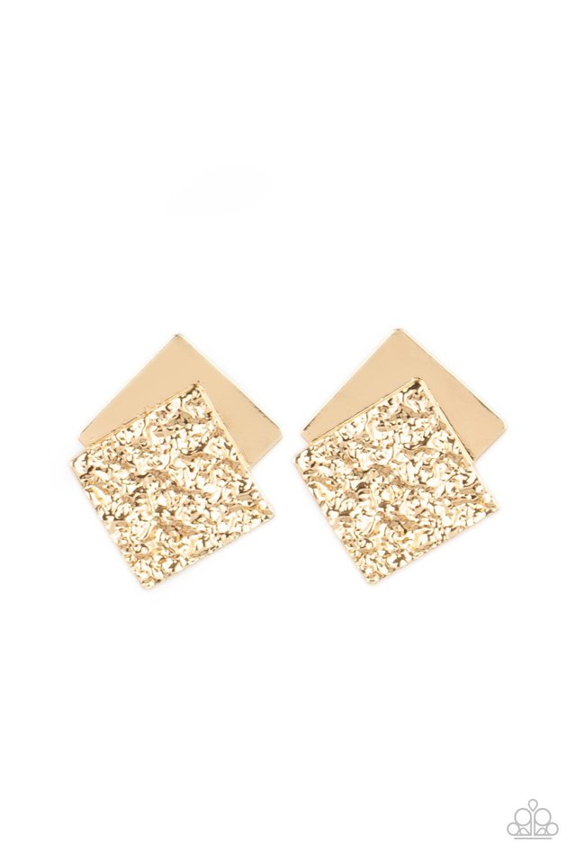 Square With Style - Gold - Paparazzi Earring Image