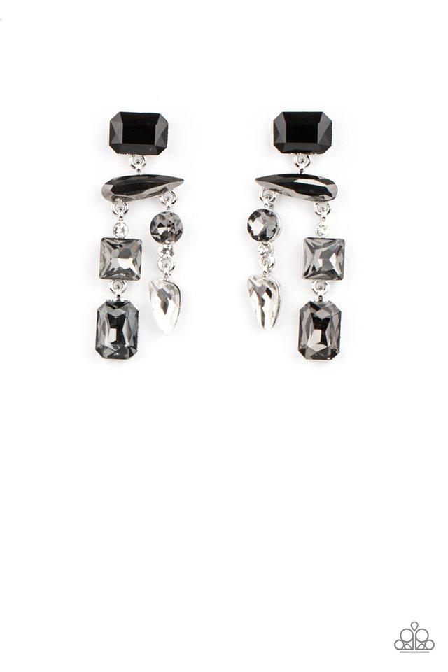 Hazard Pay - Silver - Paparazzi Earring Image