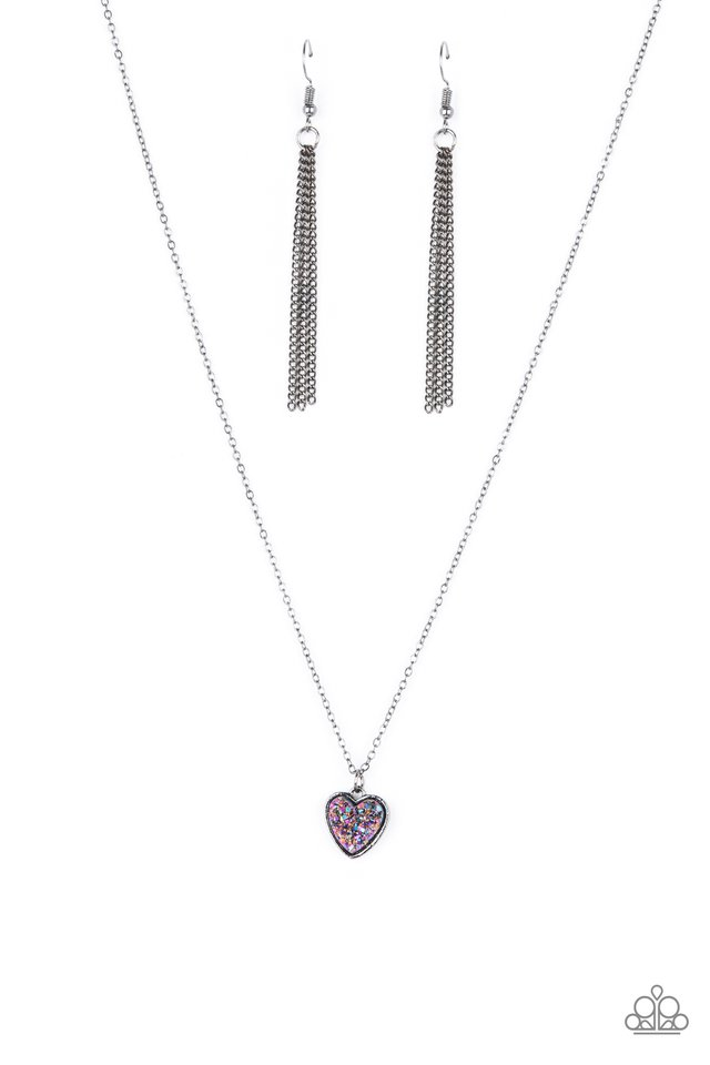 Pitter-Patter, Goes My Heart - Purple - Paparazzi Necklace Image