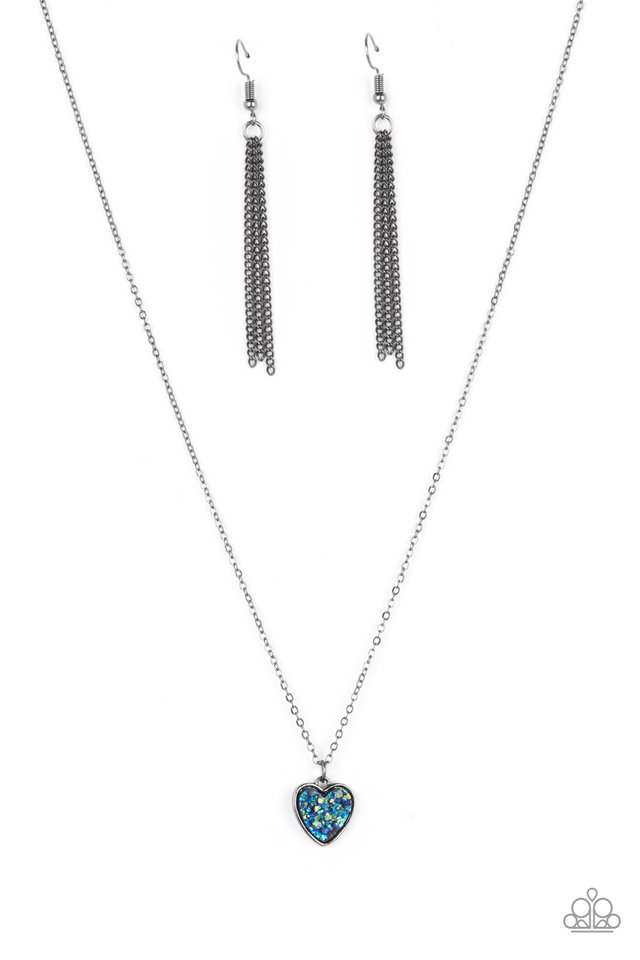 Pitter-Patter, Goes My Heart - Blue - Paparazzi Necklace Image