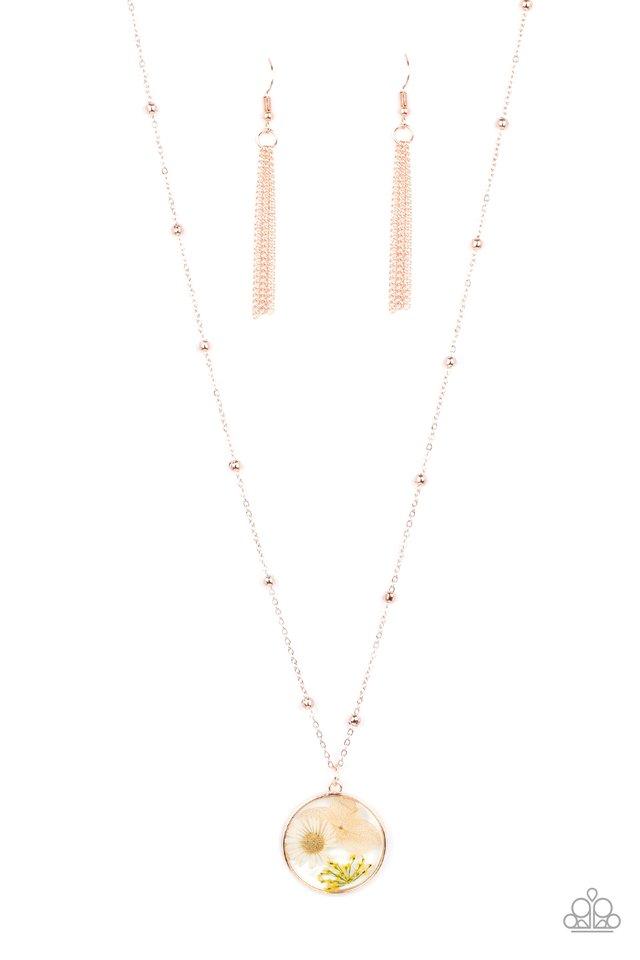 Floral Embrace - Rose Gold - Paparazzi Necklace Image