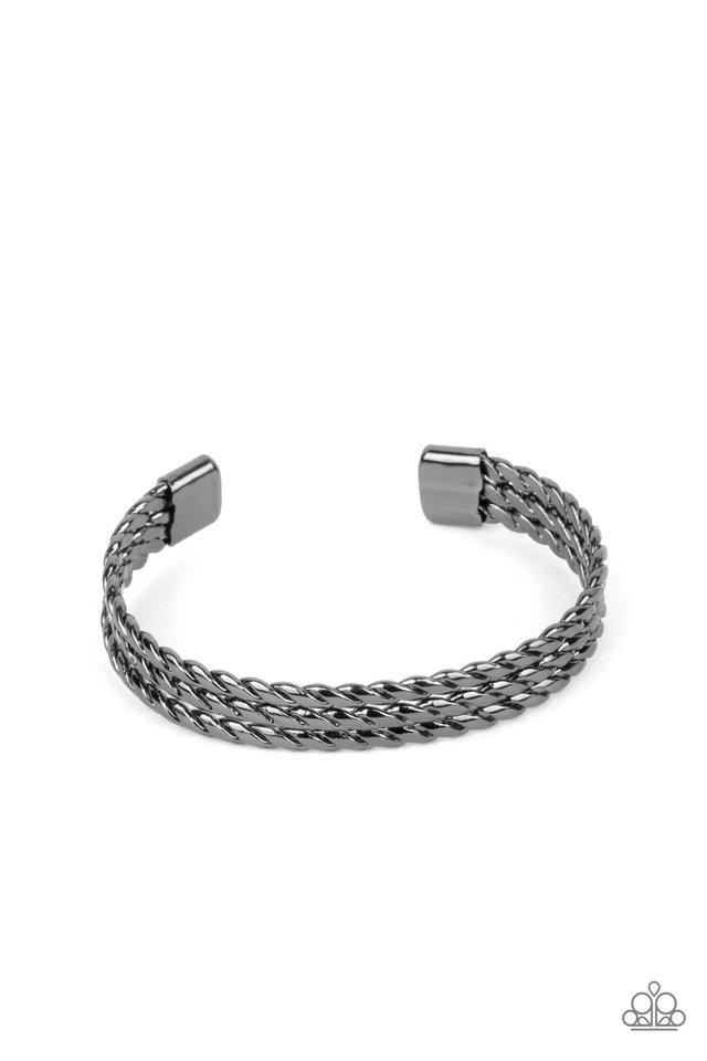 Line of Scrimmage - Black - Paparazzi Bracelet Image