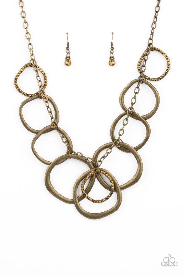 Dizzy With Desire - Brass - Paparazzi Necklace Image