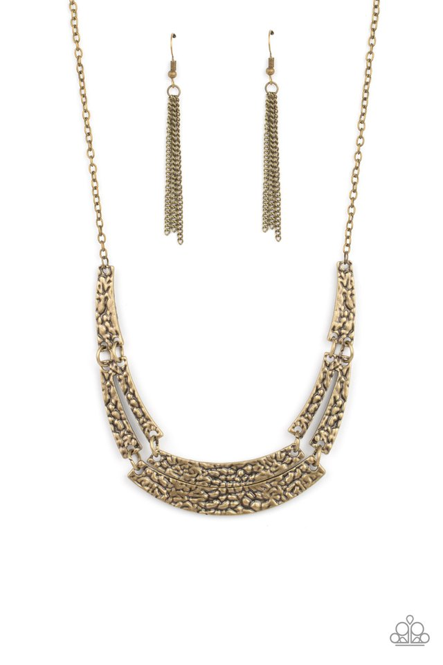 Stick To The ARTIFACTS - Brass - Paparazzi Necklace Image