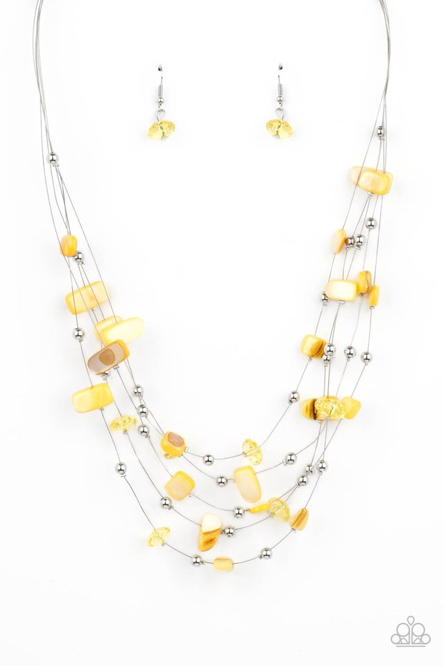 Prismatic Pebbles - Yellow - Paparazzi Necklace Image