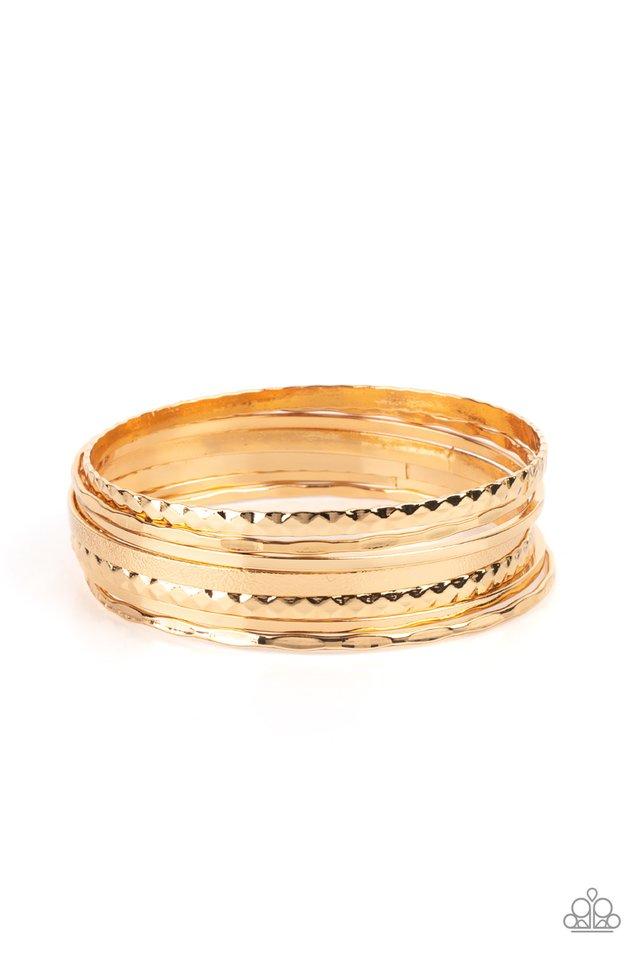 How Do You Stack Up? - Gold - Paparazzi Bracelet Image