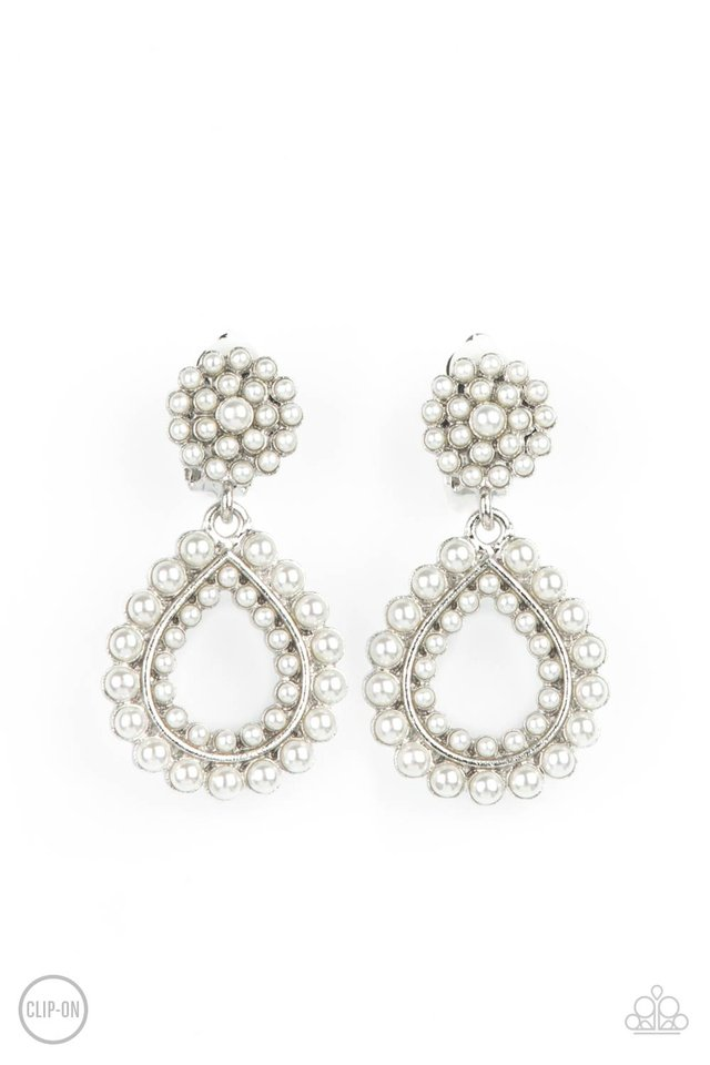 Discerning Droplets - White - Paparazzi Earring Image