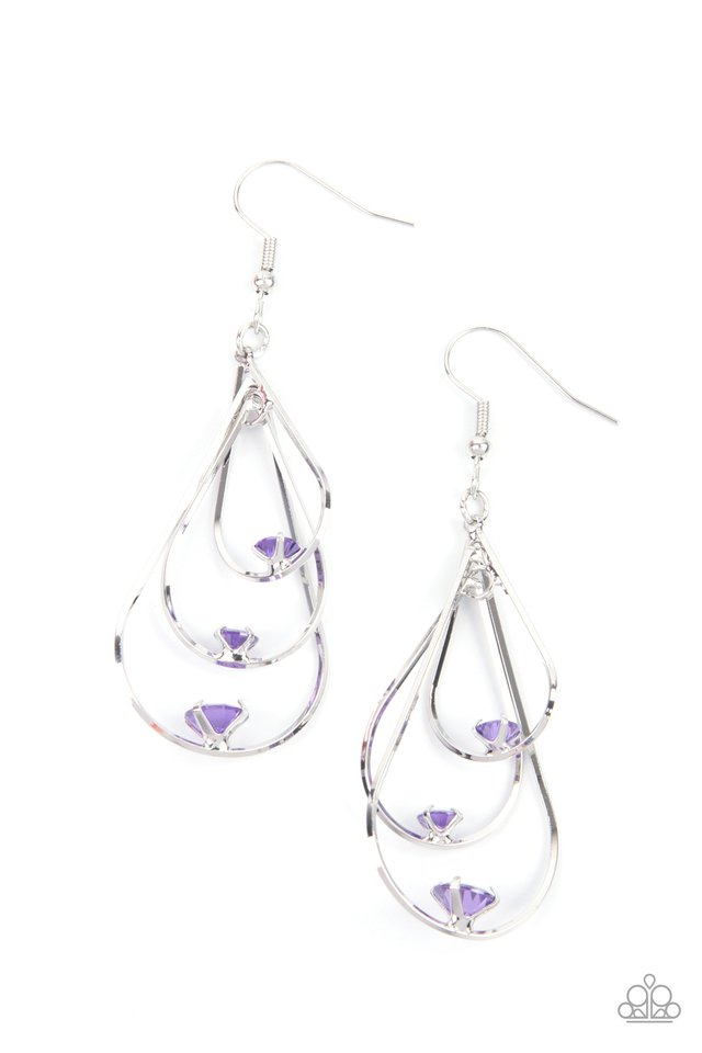 Drop Down Dazzle - Purple - Paparazzi Earring Image