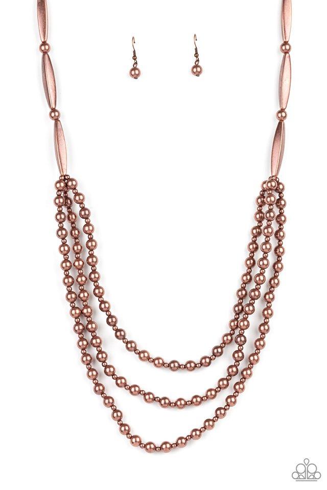 Beaded Beacon - Copper - Paparazzi Necklace Image