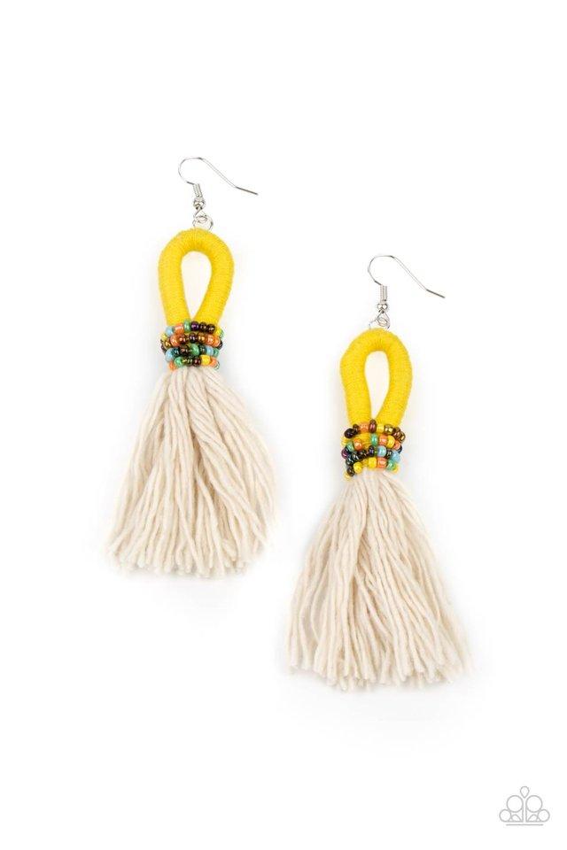 The Dustup - Yellow - Paparazzi Earring Image