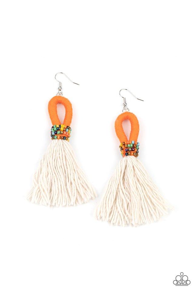 The Dustup - Orange - Paparazzi Earring Image