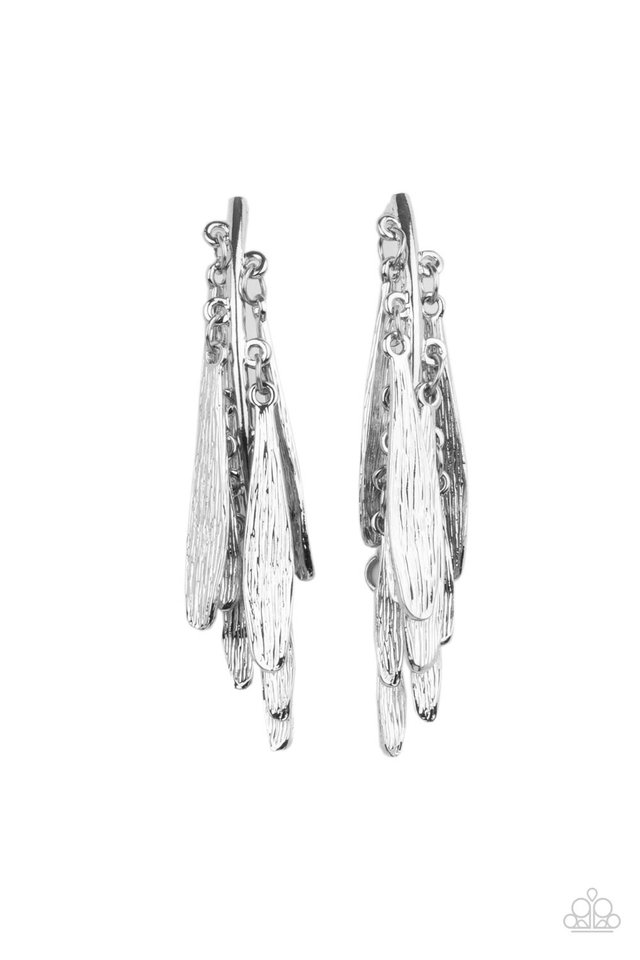 Pursuing The Plumes - Silver - Paparazzi Earring Image